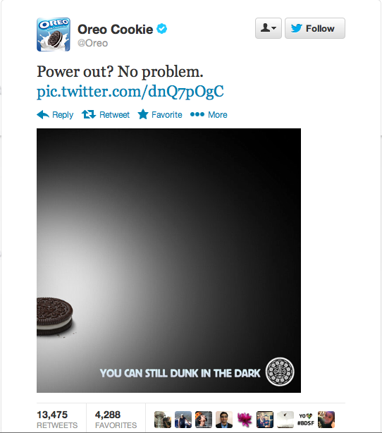 Oreos Super Bowl 2013 tweet